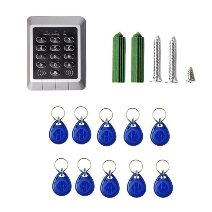 Porte Digicode Clavier RFID Lecteur Proximité Sécurité Maison Porte Serrure Système Contrôle d'Accès +10 Pcs Clés