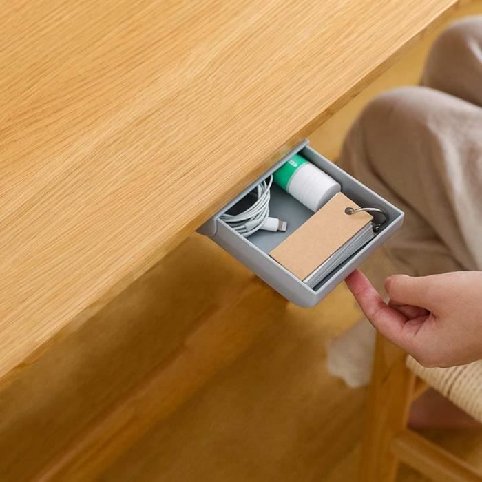 Boîte de Rangement à Tiroirs Cachée sous la Table Convient au Rangement des Ustensiles de Cuisine et de la Papeterie de Bureau 22x9x