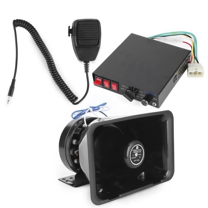Dilwe sirène d'avertissement Alarme d'avertissement de système de sonorisation de voiture klaxon de sirène d'incendie 200W 8 son
