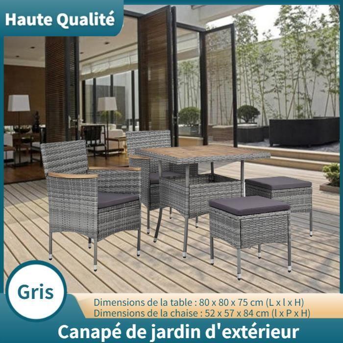 Canapé de jardin d'extérieur Salon de Jardin Gris Résine tressée HB010
