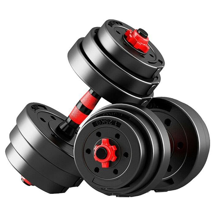 BESPORTBLE Haltère Fitness Bras détachable Paire de produits de fitness à domicile-20KG-Rouge, Noir