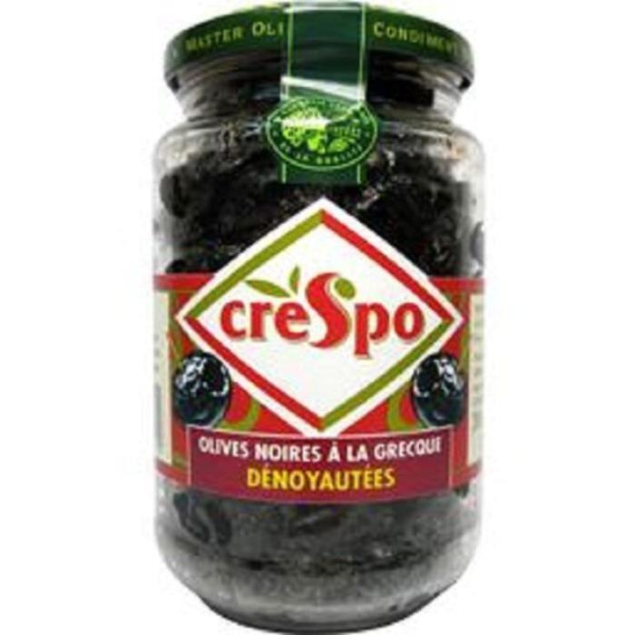 CRESPO Olives noires dénoyautées à la grecque - Bocal 37 cl