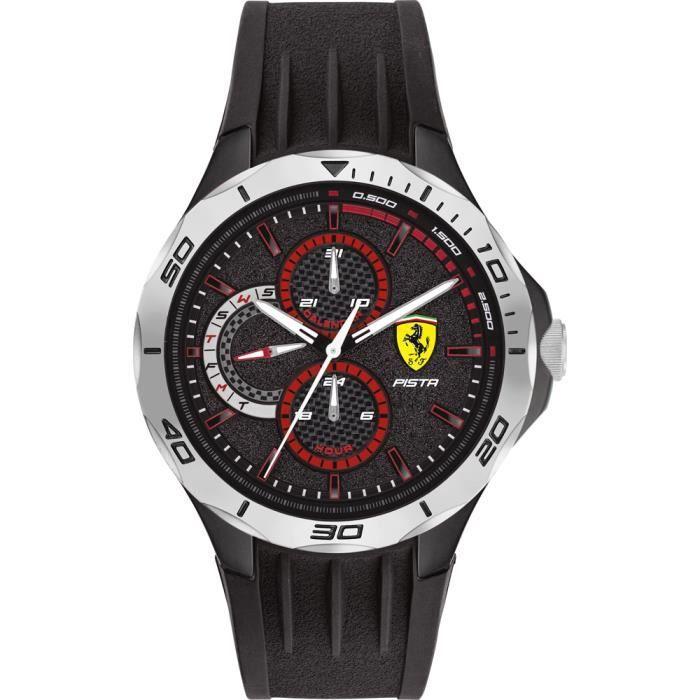 Ferrari - Montre Hommes - Quartz Multi-Cadrans - Bracelet Caoutchouc Noir - 0830722
