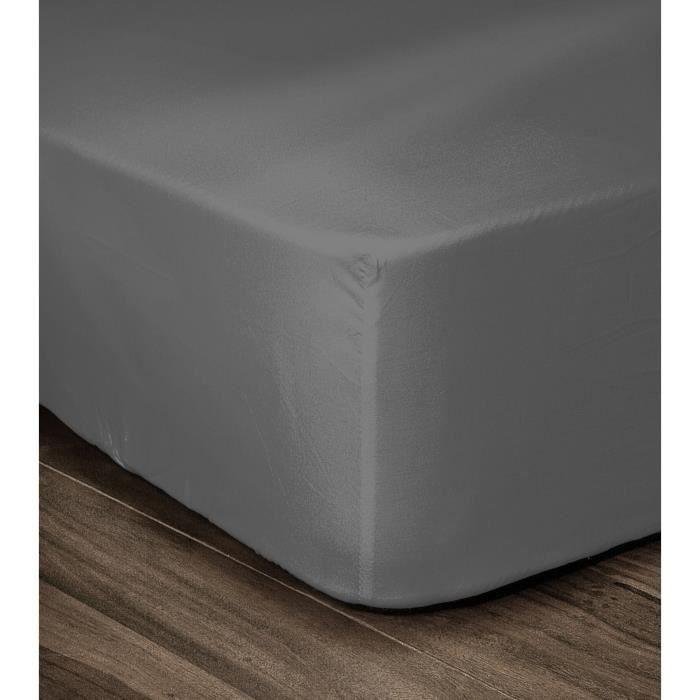LOVELY HOME Drap Housse 100% coton 140x190x30 cm gris foncé