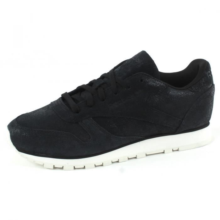 REEBOK Baskets Classic Leather Shimmer - Femme - Noir
