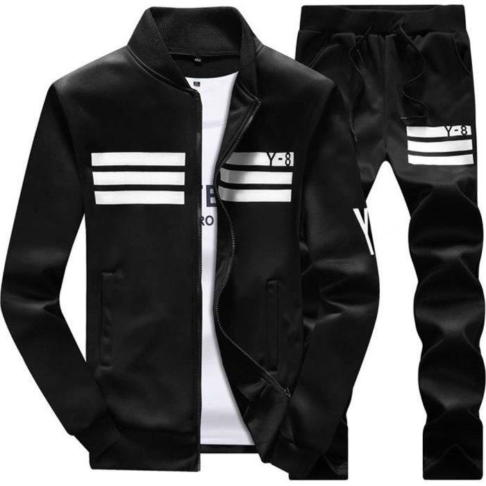 Homme Ensemble Survêtement 2 Pièces Loisir Zipper Veste +Pantalons Noir XS