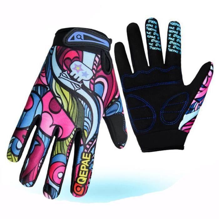 Gants,Gants de vélo colorés à la mode vtt BMX gants de moto respirants hommes femmes enfants Sports de plein air cyclisme course