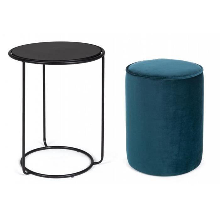Set de table basse avec pouf coloris bleu foncé en fer et bois