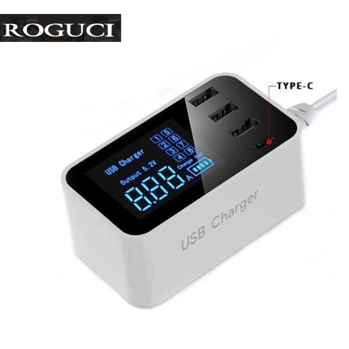 4 ports Chargeur Usb Type C avec affichage Lcd Base de chargement compatible avec Iphone, Ipad, Samsung et autres Smartphones