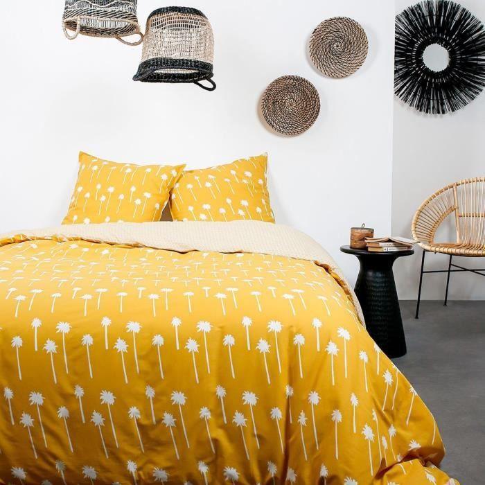 TODAY Parure de lit 2 personnes - 240 x 260 cm - Coton imprime jaune Ethnique DESERT CHIK Namib