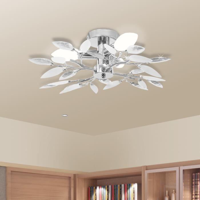 3x Plafonnier à 4 branches de feuilles Blanc et transparent Design moderne pour salon ou chambre d'atmosphère agréable