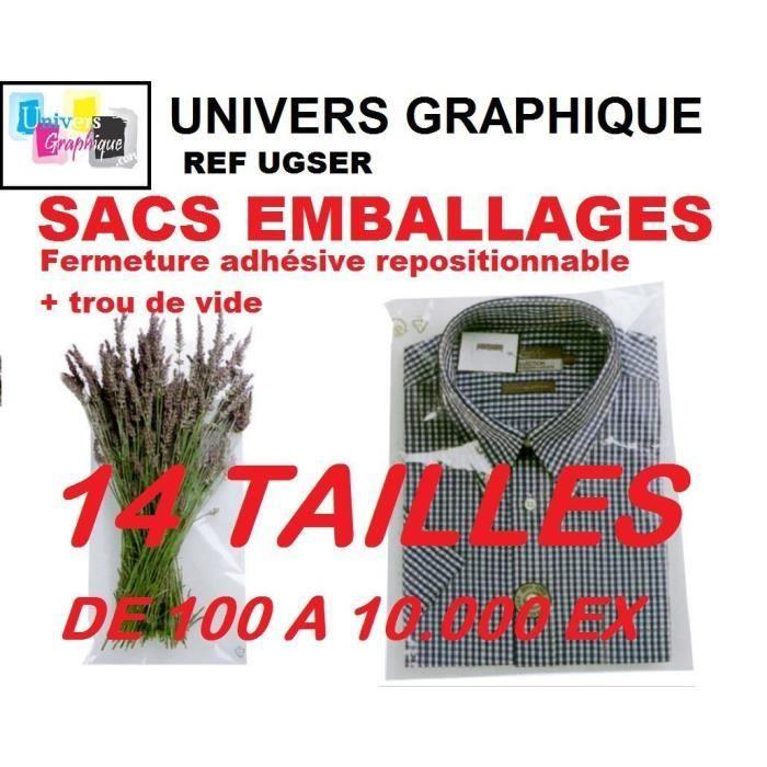 100 Sachet plastique 220 x 280 mm + 40 à fermeture autocollante adhésive repositionnable. Enveloppe de protection ultra transparent