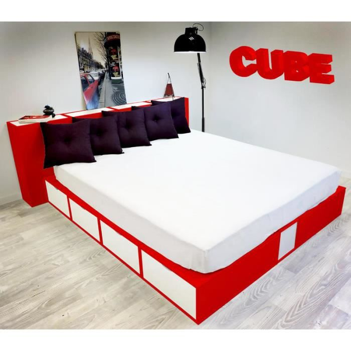 lit 160 x 200 tiroirs blanc cubes rouge achat vente structure de lit cdiscount. Black Bedroom Furniture Sets. Home Design Ideas