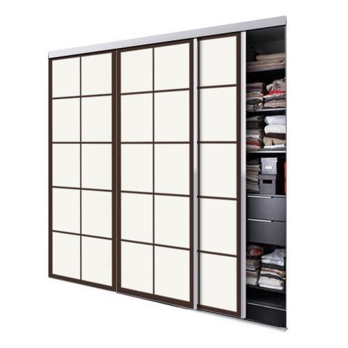 tixelia porte de placard coulissante tokyo 3 vantaux hauteur 240 cm x largeur 180 cm achat. Black Bedroom Furniture Sets. Home Design Ideas