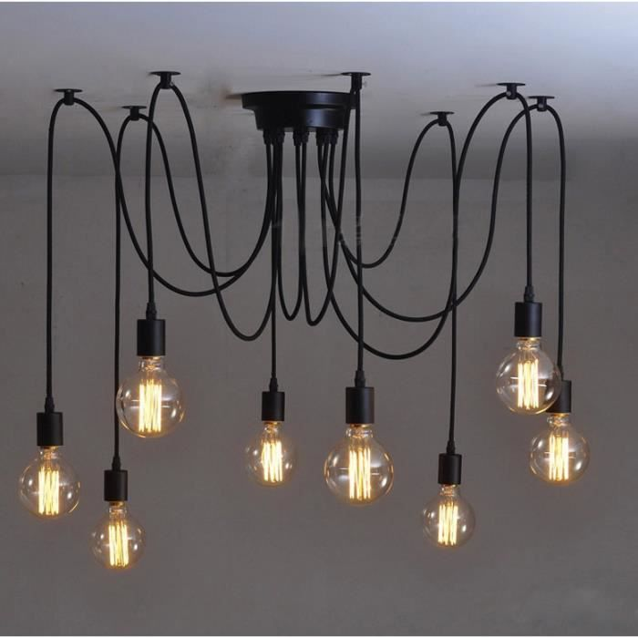 8pcs e27 douille r tro lustre plafond lampe suspensions. Black Bedroom Furniture Sets. Home Design Ideas