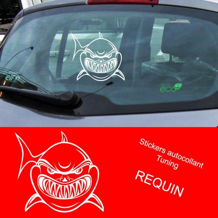 stickers autocollant tuning auto voiture requin en blanc achat vente stickers cdiscount. Black Bedroom Furniture Sets. Home Design Ideas