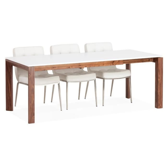 Table extensible de salle manger 39 candice 39 blanche mate for Table salle a manger extensible blanche