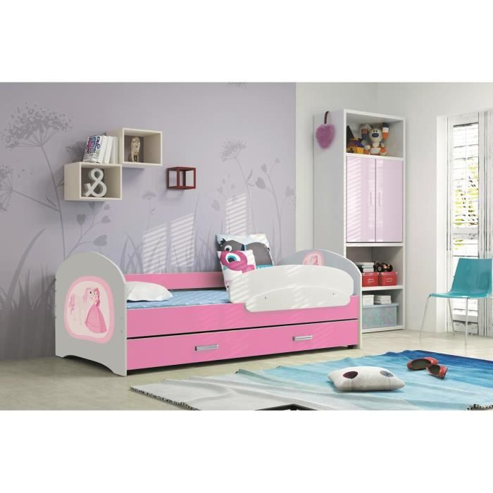 lucky 160x80 rose lit pour enfant avec rangement sommier. Black Bedroom Furniture Sets. Home Design Ideas
