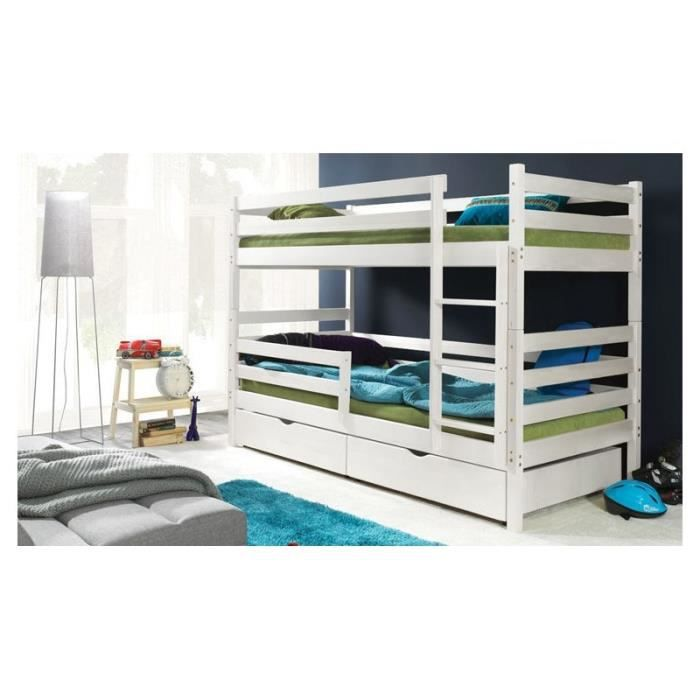 lits superpos s en bois blanc enfant achat vente lits. Black Bedroom Furniture Sets. Home Design Ideas