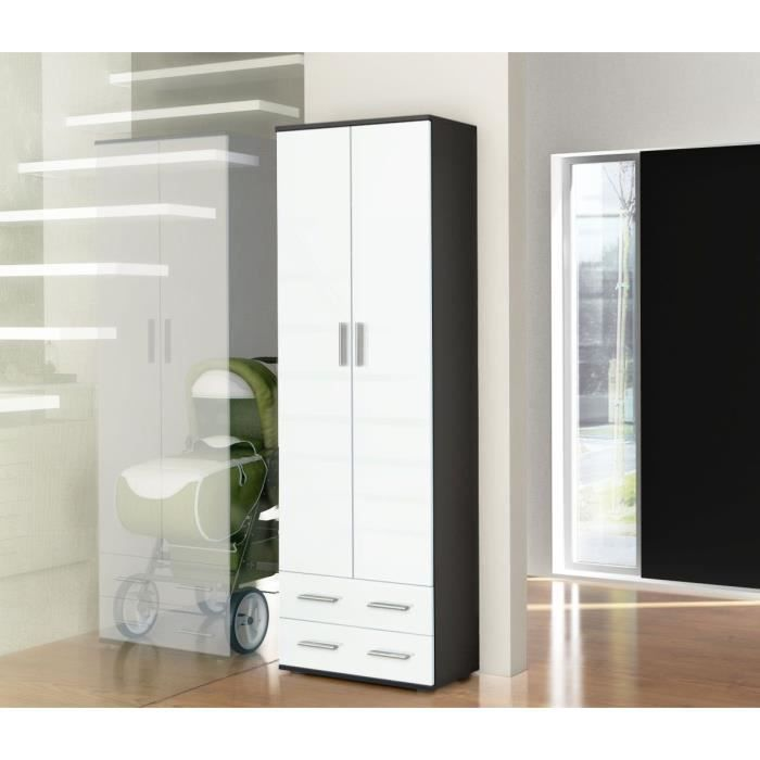 vestiaire penderie d entr e blanc noir laqu pictures to pin on pinterest. Black Bedroom Furniture Sets. Home Design Ideas