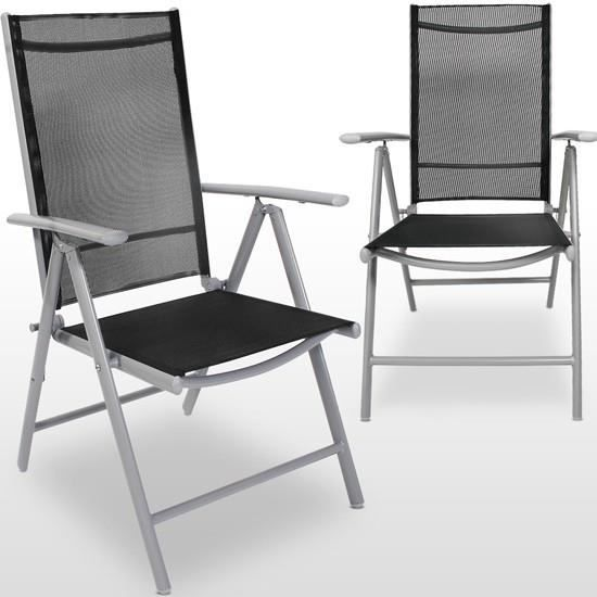 2 x chaises de jardin pliantes en aluminium gris c achat. Black Bedroom Furniture Sets. Home Design Ideas