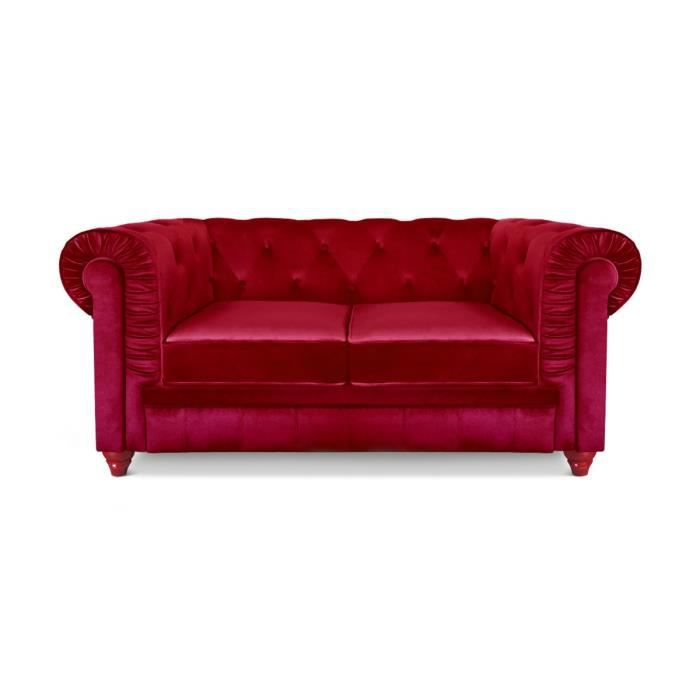 Canap chesterfield 2 places velours rouge achat vente canap sofa di - Canape chesterfield 2 places ...
