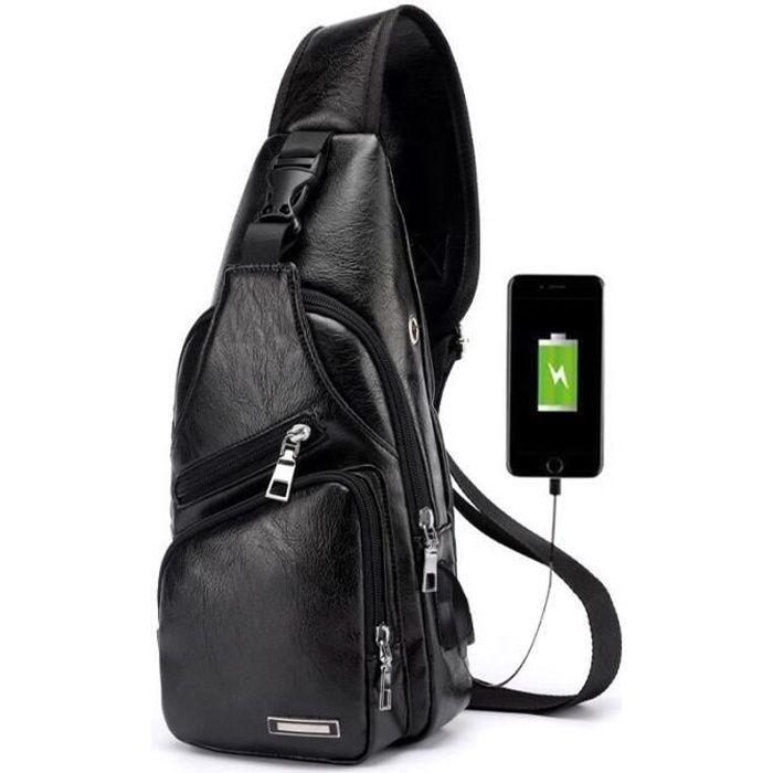 """Rétro Homme en Cuir Ordinateur Portable 14/"""" Sac à Dos Poitrine Sac a bandouliere avec interface USB"""