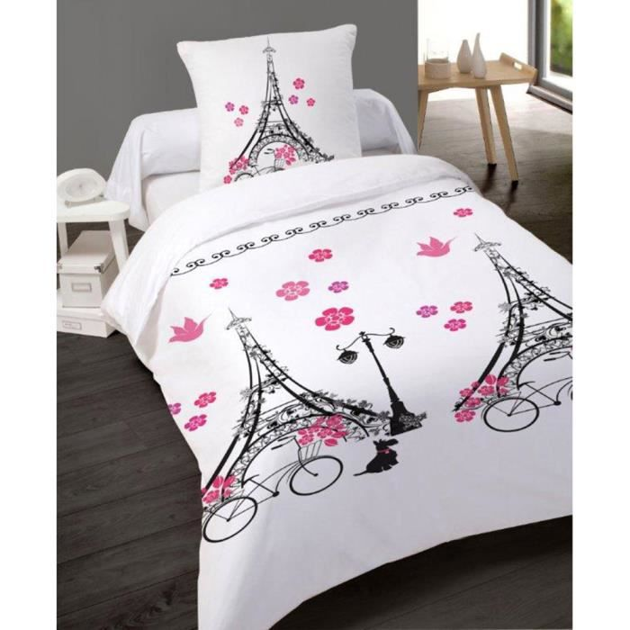 housse de couette paris v lo 140x200 cm 100 coton avec taie achat vente housse de couette. Black Bedroom Furniture Sets. Home Design Ideas