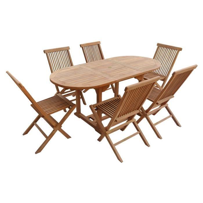 Salon de jardin en teck LOMBOK - table ovale extensible - 6 ...