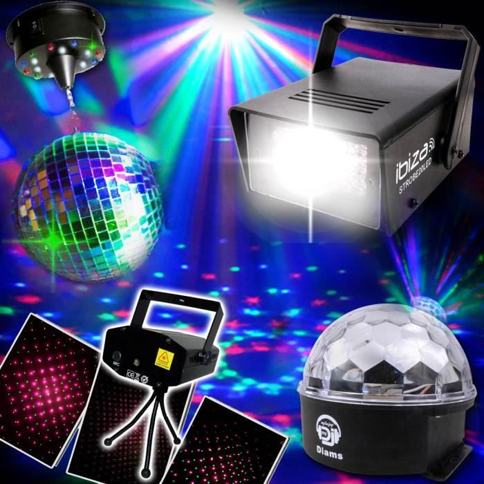 pack 4 jeux lumi re laser boule strobe effets led pack lumi re prix pas cher soldes d t. Black Bedroom Furniture Sets. Home Design Ideas