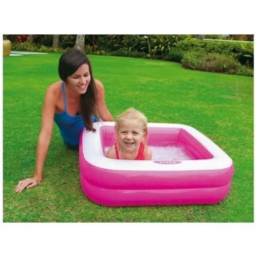Pataugeoire carree rembourree intex rose achat vente for Piscine carree intex