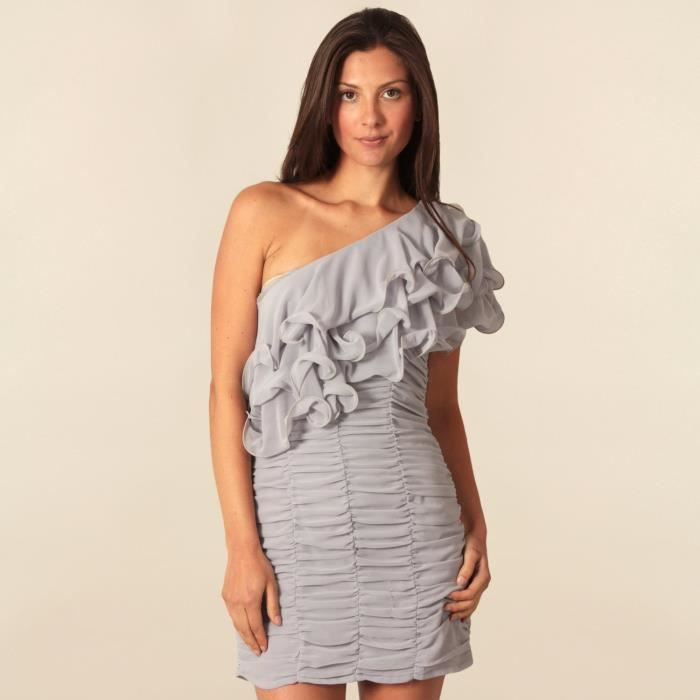 robe femme ruffle rouched opulence by gris achat vente robe cdiscount