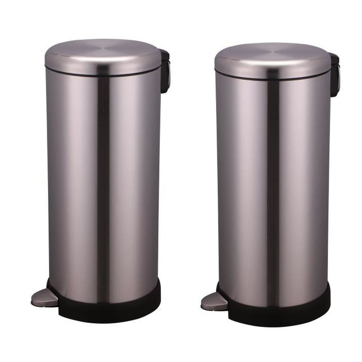 lot de 2 poubelles de cuisine 30 litres inox bross syst me fermeture silencieuse achat. Black Bedroom Furniture Sets. Home Design Ideas