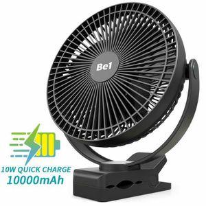 VENTILATEUR Ventilateur 10000mAh batterie rechargeable 8 clip