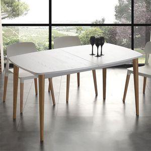 TABLE À MANGER SEULE Table scandinave en hêtre et effet bois blanc LOKI