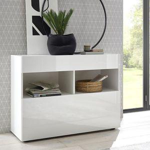 BUFFET - BAHUT  Petit buffet blanc 110 cm design, 1 porte 1 tiroir