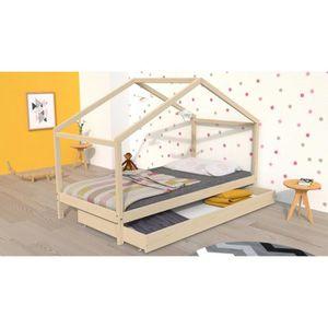 STRUCTURE DE LIT KOALA Lit cabane enfant avec tiroir - Bois pin mas