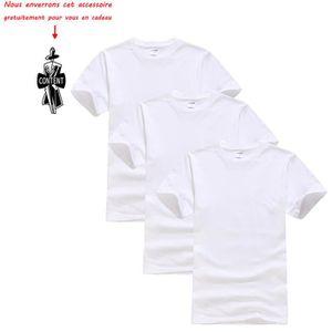 T-SHIRT Lot de 3 T shirt Homme uni Tee shirt Hommes Col ro
