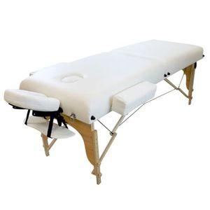 Table de massage Table de massage 13 cm pliante 2 zones en bois ave