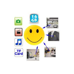 CAMÉRA MINIATURE Badge smiley caméra espion appareil photo MP3 U…