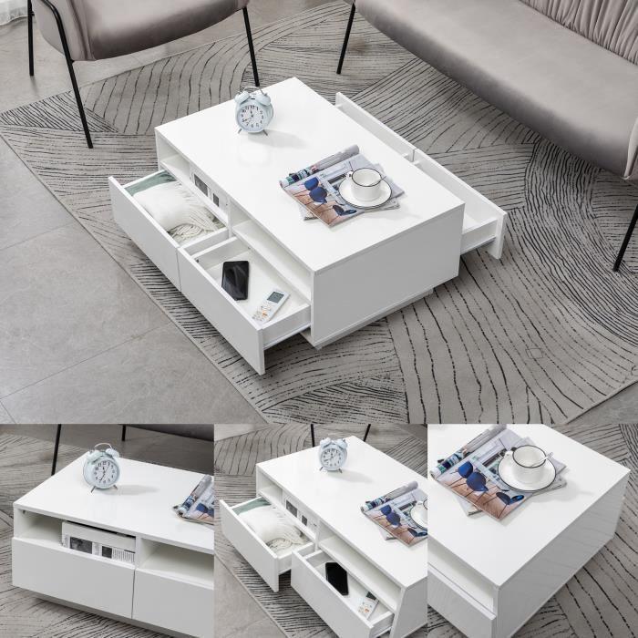 PET - Table Basse, Blanche Brillante,4 Tiroirs Design Moderne,85 x 56 x 35 cm