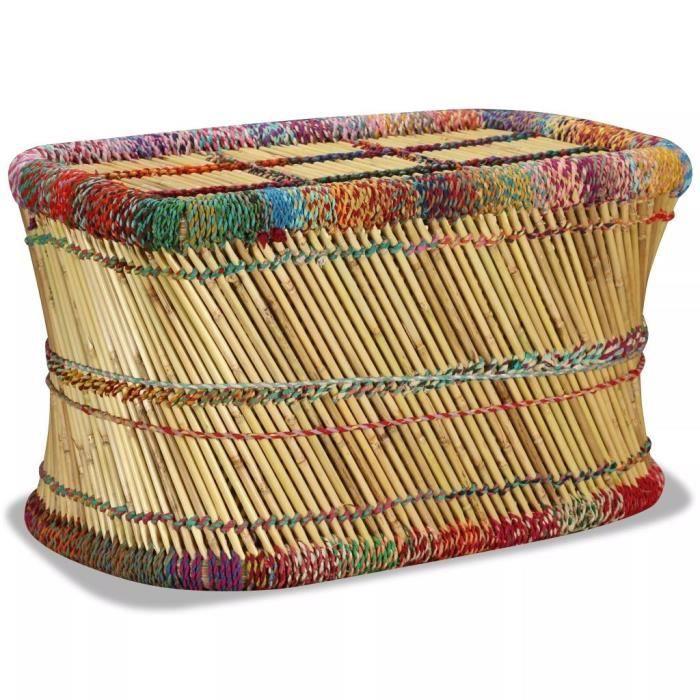 P48 Table basse Bambou avec Details Chindi Multicolore