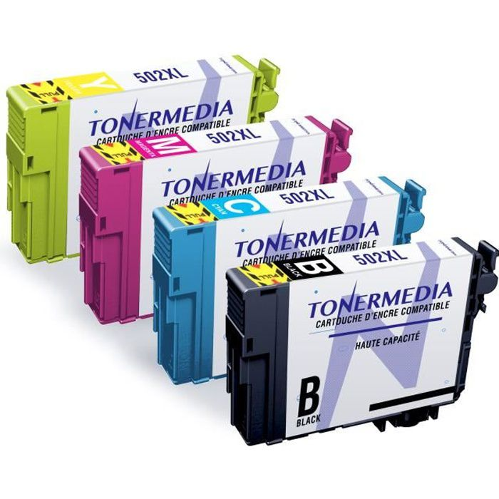Tonermedia x4 cartouches Epson 502Xl compatibles avec imprimantes Epson Expression Home Xp 5100 Xp 5105 Xp 5115 Wf 2800 Wf 2860