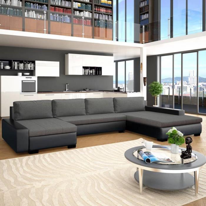 Confort Du Salon: Canapé Modulable - Convertible d'Angle 4-6 Places - Similicuir Avec Méridienne - Noir&Gris Foncé