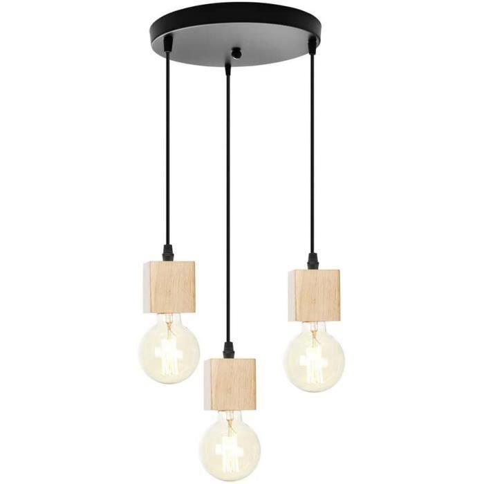 Chao Zan E27 lampe 3 flamme Vintage Suspension Industrielle Abat-Jour En Bois D&eacutecoration Moderne Plafond Pendentif &Eacut341