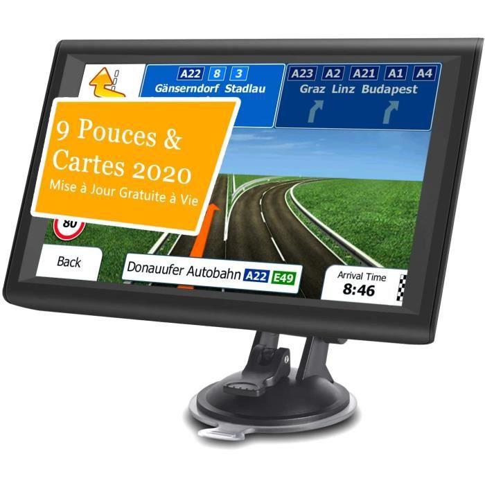 Aonerex 9- GPS Voiture Auto Navigation Écran Tactile Cartographie Europe 52 Pays Mise à Jour Gratuite à Vie Système en Français avec
