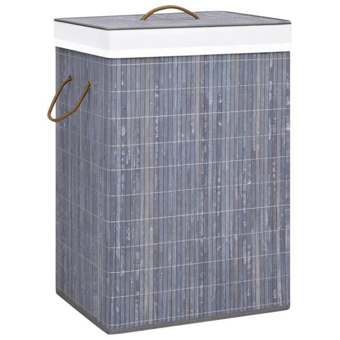Luxueux - Panier à linge - Coffre à linge Bambou Gris 72 L #92180