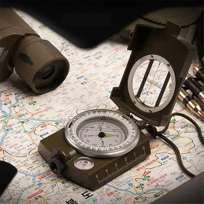 Boussole pliable militaire lumineuse de poche de randonnée extérieure multifonctionnelle de camping _HW * 398
