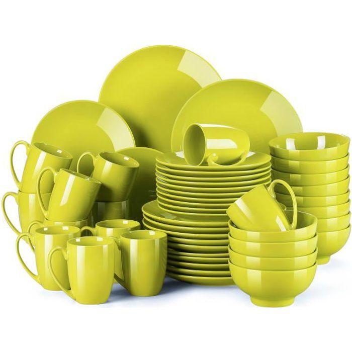 Service de Table en Porcelaine - Service Vaiselle Complet 48 Pièces pour 12 Personnes - Jaune-vert - LOVECASA Série Sweet