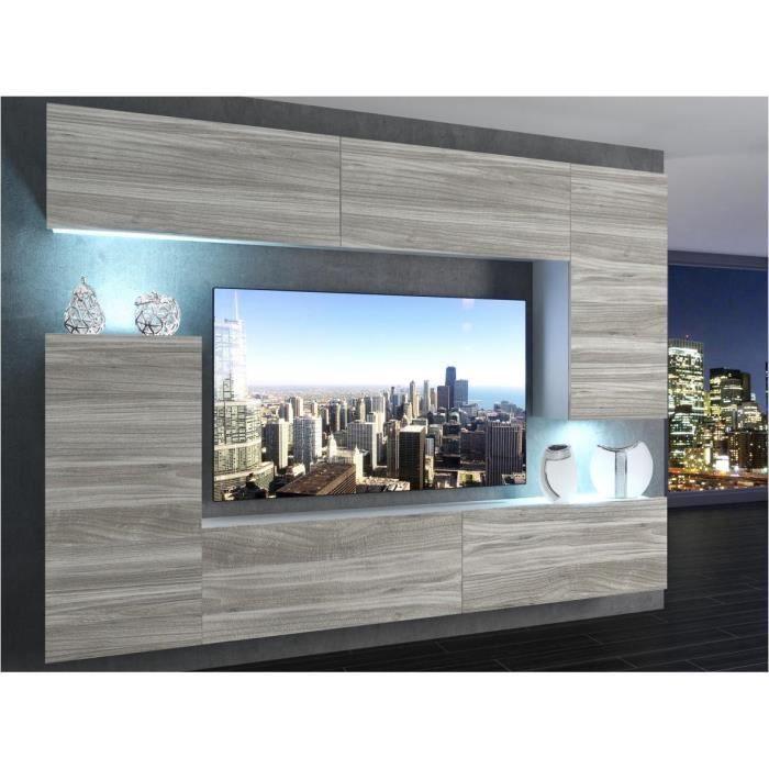 SLIDE - Ensemble meubles TV - Unité murale style moderne - Largeur 250 cm - Mur TV à suspendre - Aspect bois - Bois